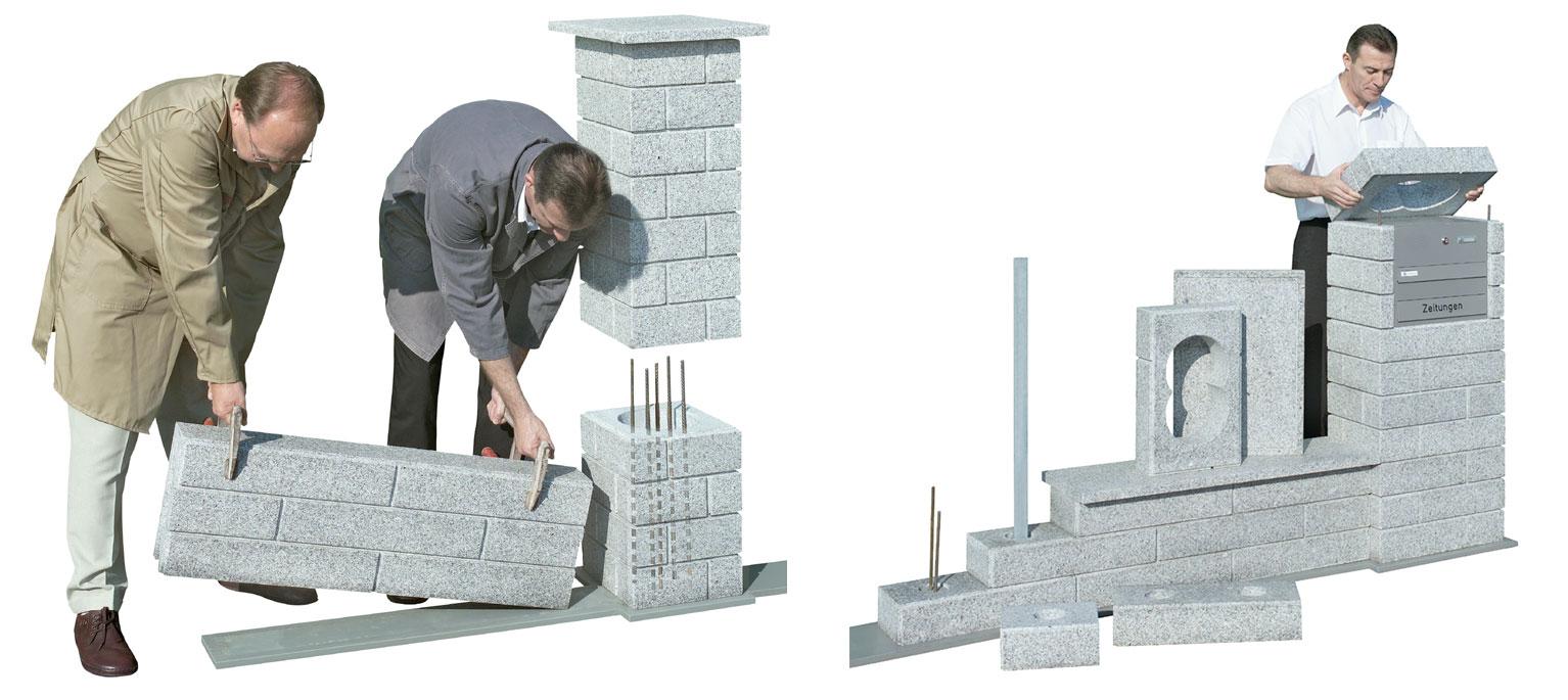 bilz ziermauerfix bilz gartenmauer gartenplatten granitmauer granitplatten natursteine betonwaren. Black Bedroom Furniture Sets. Home Design Ideas